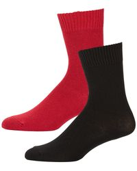 Neiman Marcus Two-pair Cashmere-blend Socks Black/red