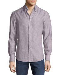 Brunello Cucinelli - Leisure-fit Striped Linen Cloth Sport Shirt - Lyst