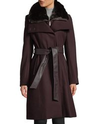 French Connection - Double-breasted Belted Wool-blend Coat With Detachable Faux-fur Bib - Lyst