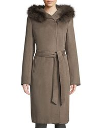 Ellen Tracy - Slick Wool Wrap Pea Coat W/ Fox Fur Hood - Lyst