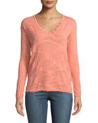 Minnie Rose - Lightweight Solid Henley Sweater - Lyst