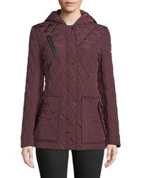 DKNY - Hooded Quilted Button-front Coat - Lyst