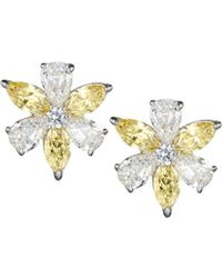 Fantasia by Deserio - Cz Flower Cluster Earrings Canary/clear - Lyst