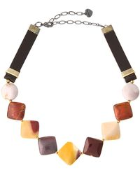 Nakamol | Jasper & Leather Square Beaded Choker Necklace | Lyst