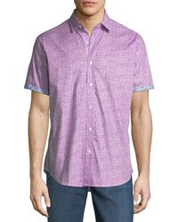 Bugatchi - Shaped-fit Striped Short-sleeve Sport Shirt - Lyst