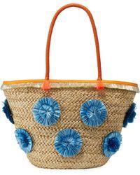 MILLY - Straw Pompom Shoulder Tote Bag - Lyst