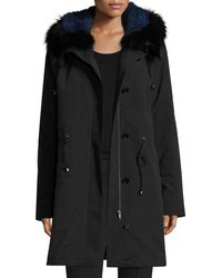 Trilogy - Hooded Fur-trim Coat W/ Removable Fur Lining - Lyst