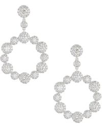 Neiman Marcus - 14k White Gold Diamond Fashion Halo Earrings - Lyst
