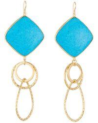Devon Leigh   Large Turquoise Bezel Link Drop Earrings   Lyst