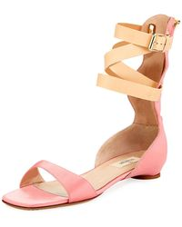 Valentino - Satin Caged-ankle Flat Sandals - Lyst