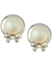 Belpearl | 14k White Gold Freshwater Pearl & Diamond Bow Button Earrings | Lyst