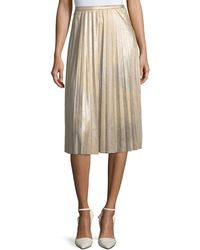 Tahari - Metallic Pleated Midi Skirt - Lyst