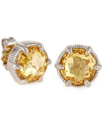 Judith Ripka - Eclipse Stud Earrings In Canary Crystal - Lyst