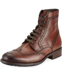Neiman Marcus - Hand Antiqued Wing-tip Leather Boot - Lyst