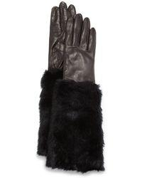 Ivanka Trump - Lambskin Gloves W/faux-fur Cuffs - Lyst