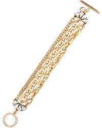 Lydell NYC - Golden Multi-strand Crystal Chain Bracelet - Lyst