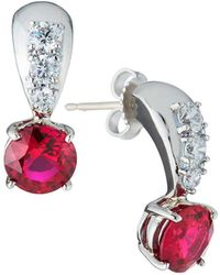 Fantasia by Deserio - 18k White Gold Cubic Zirconia & Synthetic Ruby Drop Earrings - Lyst