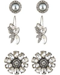 Lydell NYC - Floral Crystal Earring Trio - Lyst