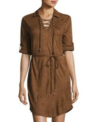 Cirana - Faux-suede Lace-up Dress - Lyst
