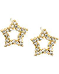 Tai - Golden Cz Star Stud Earrings - Lyst