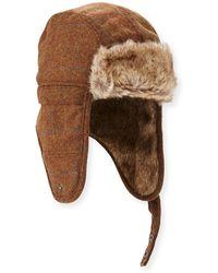 Ben Sherman - Windowpane Wool Trapper Hat W/ Faux-fur Trim - Lyst