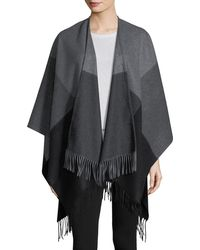 Neiman Marcus - Two-tone Wool Ruana Shawl - Lyst