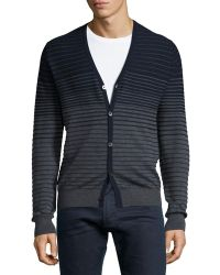 Patrick Assaraf - Striped Wool Sweater Cardigan - Lyst