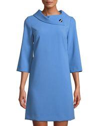 Tahari - Crepe Shift Dress With Asymmetric Fold-over Collar - Lyst