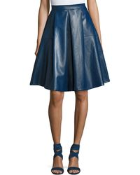 Goldie London - Lateral Standing Faux-leather A-line Skirt - Lyst