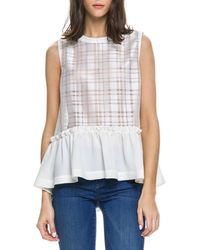 English Factory - Shirred Plaid Combo Top - Lyst