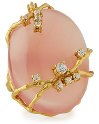 Indulgems - Oval Pink Chalcedony & Cz Cocktail Ring - Lyst