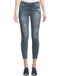 Kut From The Kloth - Connie Geometric-embroidered Frayed-hem Skinny Jeans - Lyst