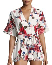 Haute Rogue - Watch Out Floral-print Romper - Lyst