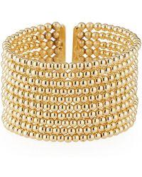 Kenneth Jay Lane Beaded 10-row Cuff Bracelet Golden