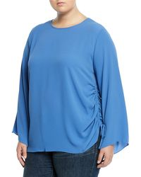 Vince Camuto Signature - Bell-sleeve Side-tie Blouse Plus Size - Lyst