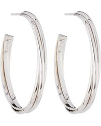 Roberto Coin - 18k White Gold Slim Oval Hoop Earrings - Lyst