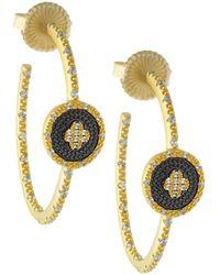 Freida Rothman | Pave Medallion Clover Hoop Earrings | Lyst