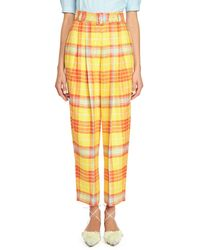 Delpozo - Belted Pleated Plaid Pants - Lyst