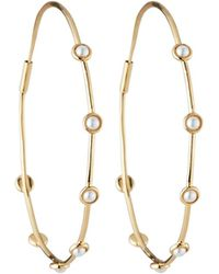 Lydell NYC - Threaded Pearly Hoop Earrings - Lyst