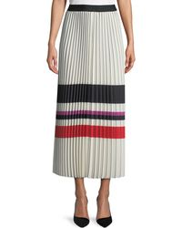 Max Studio | Pleated Striped Maxi Skirt | Lyst