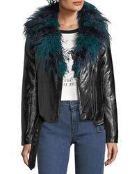 MINKPINK - Midnight Faux-fur Leatherette Biker Jacket - Lyst