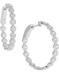 Neiman Marcus - 14k White Gold Diamond Halo Hoop Earrings - Lyst