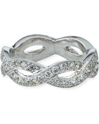 Sydney Evan - 14k White Gold Pave Diamond Twisted Eternity Band Ring Size 6 - Lyst