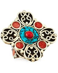 Devon Leigh - Coral & Turquoise Adjustable Flower Ring - Lyst