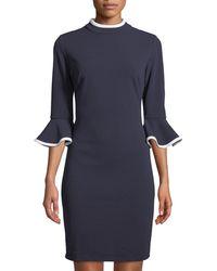 Alexia Admor - Piped Flare-sleeve Mock-neck Sheath Dress - Lyst