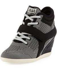 Ash - Bebop Knit Lace-up Wedge Sneaker - Lyst