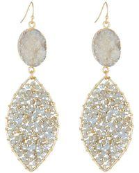 Panacea - Druzy Beaded Drop Earrings - Lyst