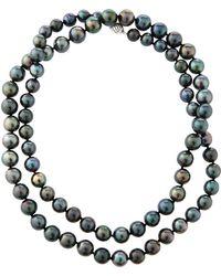 Belpearl - 14k Oblong Tahitian Pearl Necklace - Lyst