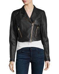Jason Wu - Cropped Leather Moto Jacket - Lyst