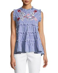 Romeo and Juliet Couture - Sleeveless Embroidered Ruffle-tiered Striped Blouse - Lyst